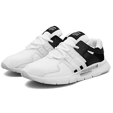 Men's Summer PU(Polyurethane) / Elastic Fabric Summer Men's Comfort Athletic Shoes Running Shoes White / Black / Black / White b1590e
