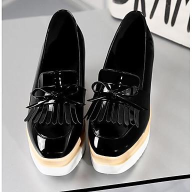 Estampado Confort Wine y Blanco Slip Zapatos Punta 06818469 bajo de Negro taco On plataforma Zapatos Cuero cerrada Primavera Mujer Media Patentado Animal wIqzaRR