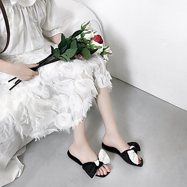 Sandalias Tacón 06795269 Negro Dedo cuadrada Plano Verano Zapatos Mujer Confort Pajarita Algodón 7aRnB