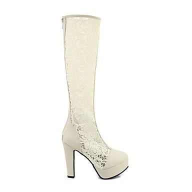 Dentelle Polyuréthane été Chaussures Beige Bottes à Bout Bottes Noir Blanc 06781854 Mode la Bottier Talon rond Printemps Femme FCq55