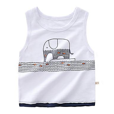 baratos Camisas para Meninos-Bébé Para Meninos Básico Diário Estampado Sem Manga Padrão Top e Camisete Branco