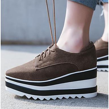 Žene Cipele Brušena koža Proljeće ljeto Udobne cipele Natikače i mokasinke Wedge Heel Zatvorena Toe Crn / Braon