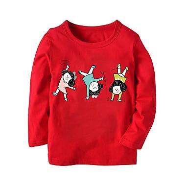 baratos Blusas para Meninas-Infantil Para Meninas Básico Sólido Estampado Manga Longa Algodão Blusa Vermelho