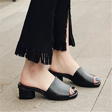 Basique Chaussures Eté Sandales Bout Escarpin Bottier Femme Blanc Cuir 06774703 ouvert Talon Noir WfgpaSnx