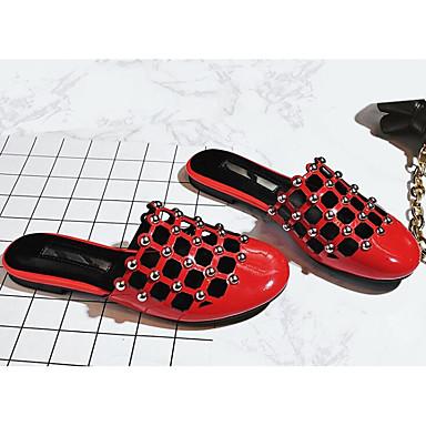 Microfibre Mules Rouge Femme 06780569 Plat Sabot Talon amp; Confort Noir Chaussures Eté CYw5v