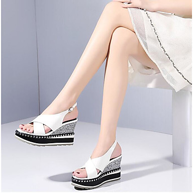 Eté Blanc Cuir 06776292 Sandales Hauteur Nappa Chaussures Billes Bout compensée Confort ouvert Femme de semelle wO5t6q5