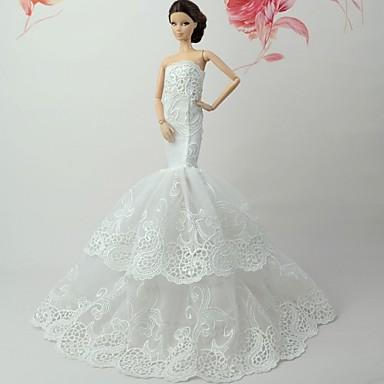 Sukienki Sukienka Dla Lalka Barbie Biały + różowy Koronka / Żakardowa Taknina Poliesterowa Sukienka Dla Dziewczyny Lalka Zabawka