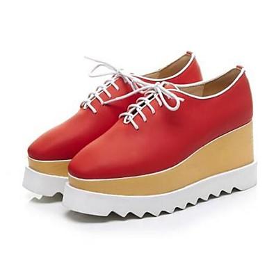Chaussures Vert 06792968 Peau été de Hauteur Noir semelle compensée Oxfords Femme de Printemps Rouge mouton Confort qACnTd