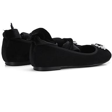 Eté Peau mouton Noir Femme Bout Ballerines de Talon Chaussures Confort 06833496 Printemps fermé Plat Daim wOROqYnB