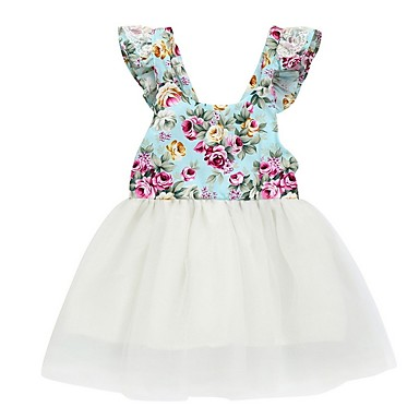 470b20c6fe3f billiga Babyklänningar-Bebis Flickor Aktiv / Grundläggande Tryck Ärmlös Polyester  Klänning Vit / Småbarn