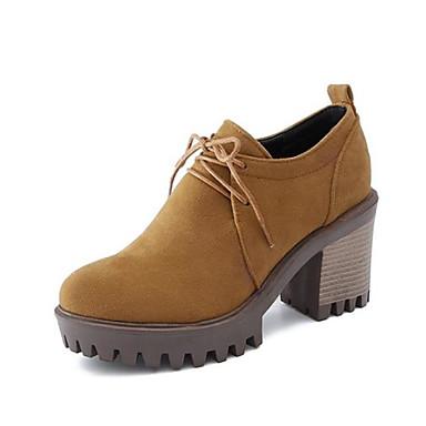 Žene Cipele Brušena koža Jesen zima Udobne cipele Oksfordice Kockasta potpetica Okrugli Toe Crn / Bež / Bijela