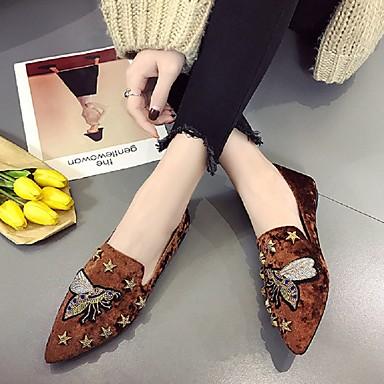06781910 Estampado Negro Eslogan Zapatos Animal taco Primavera Caqui Confort Zapatos bajo Plano Tacón Ante Slip Morrón Oscuro Mujer Cuentas Dedo y de Puntiagudo On wUqgaa4
