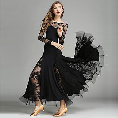 Für den Ballsaal Kleider Damen Leistung Spitze / Viskose Gerafft Langarm Normal Kleid / Moderner Tanz