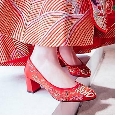 0f5ae41f1286d ... Automne Escarpin Basique Chaussures Rouge Femme Talon mariage de été  Printemps Bout Chaussures 06790826 Satin Mariage