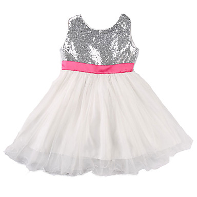 1728eed9ab42f Baby Girls' Active / Street chic Daily / Holiday Solid Colored Bow  Sleeveless 50-60 cm Dress Silver / Toddler