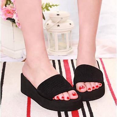 Žene Cipele Platno Proljeće ljeto Udobne cipele Papuče i japanke Ravna potpetica Otvoreno toe Crn / Crvena