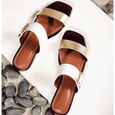 Nappa Sandales Plat ouvert Confort Talon Marron Blanc Bout Femme Eté Chaussures 06775553 Cuir U1q66E