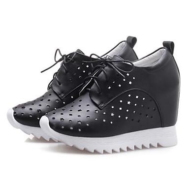 Bout Printemps Nappa compensée Eté Argent Oxfords Blanc de Chaussures Hauteur Cuir 06834386 Femme Noir fermé semelle Confort tqExAUUPw