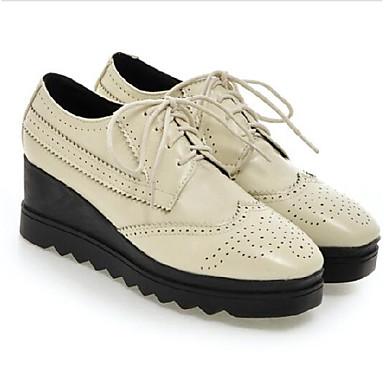 Blanco Mujer Oxfords PU Negro Zapatos Verano 06837902 Cuña Primavera Confort Amarillo Punta cerrada Tacón vrXrw5xqC