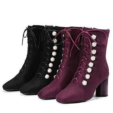 hiver Femme Bourgogne mollet 06832674 Soirée Talon Bottes Mi carré à la Bottier Automne Mode Evénement Chaussures Noir amp; Bottes Bottes Bout Daim Rivet S4w4tqg