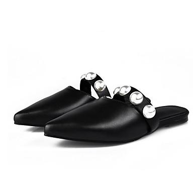 06830314 Sabot Cuir Femme Confort Talon Noir Mules Plat Eté Printemps Chaussures Nappa amp; Snfw7H