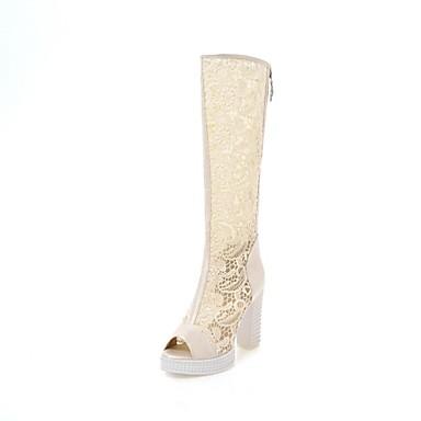 Žene Cipele Čipka / PU Ljeto Modne čizme Sandale Kockasta potpetica Peep Toe Obala / Crn / Bež