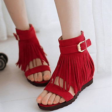 verano Primavera abierta Mujer Tacón Zapatos Rojo Ante Descubierto Talón Beige Negro Puntera Borla 06830681 Plano Sandalias wqqAaSxt