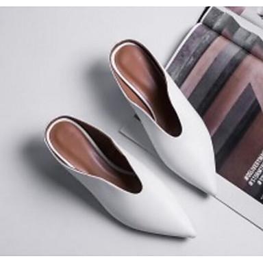 Eté Blanc Noir Femme Talon Sabot Printemps Cuir 06795558 Aiguille amp; Chaussures Nappa Mules Confort w7I7BqP