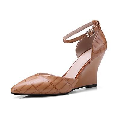 Femme 06832477 de Basique Escarpin Talons Chaussures Hauteur compensée semelle Chaussures mouton de Marron à Eté Peau Jaune axa1Er