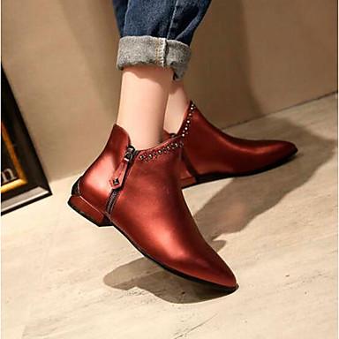 Žene Cipele Mekana koža Jesen zima Udobne cipele / Modne čizme Čizme Niska potpetica Zatvorena Toe Čizme gležnjače / do gležnja Sive boje / Lila-roza