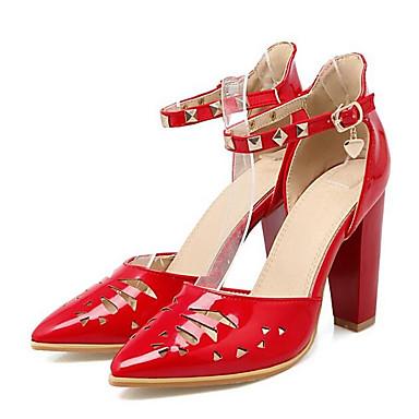 Confort Rojo Primavera PU Tacón Zapatos 06832416 Blanco Mujer Cuadrado Negro Tacones q4ZRat