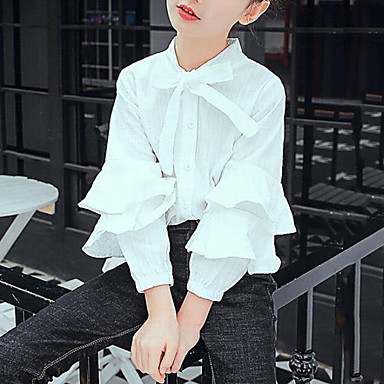 baratos Blusas para Meninas-Infantil Para Meninas Activo Moda de Rua Diário Para Noite Sólido Cordões Manga Longa Padrão Camisa Branco