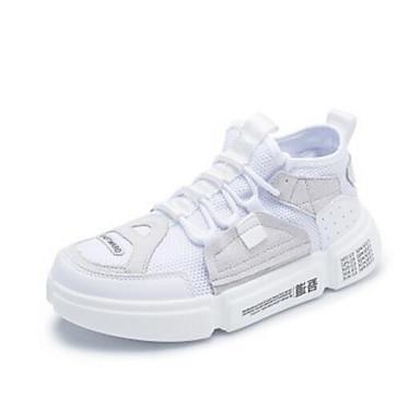 Women's Shoes Faux Fur / PU(Polyurethane) Sneakers Spring / Summer Comfort Sneakers PU(Polyurethane) Flat Heel Closed Toe White / Black c1fffb