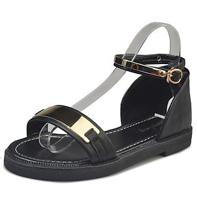 Žene PU Ljeto Udobne cipele Sandale Niska potpetica Otvoreno toe Obala / Crn / Zelen