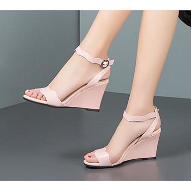 Cuir 06801405 semelle Nappa Noir de Sandales Chaussures Femme Hauteur Eté Rose Basique compensée Escarpin Confort 65qgq1