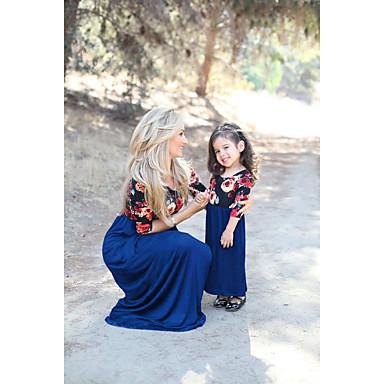 economico Abbigliamento combinato per famiglie-Mamma e io Essenziale Quotidiano Fantasia floreale Manica corta Poliestere Vestito Blu marino
