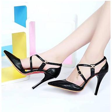 Women's Shoes PU(Polyurethane) Summer Comfort Heels Stiletto Heel Black Pointed Toe White / Black Heel / Red a7b3e6
