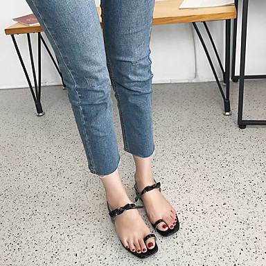 Zapatos Pajarita Mujer Tobillo Dedo en Verano 06791779 Rojo Negro cuadrada el Plateado Sandalias Tacón Bajo PU Tira 7dqgd