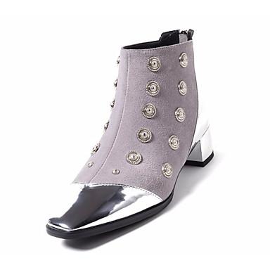 Bout Bottes Bottine Heel Rivet carré Femme Automne Cuir Bottes Block 06801428 Chaussures Botte Demi Gris hiver la Mode à aaOIqP