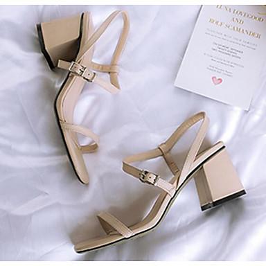 Žene Cipele Mekana koža Ljeto Udobne cipele Sandale Kockasta potpetica Crn / Badem