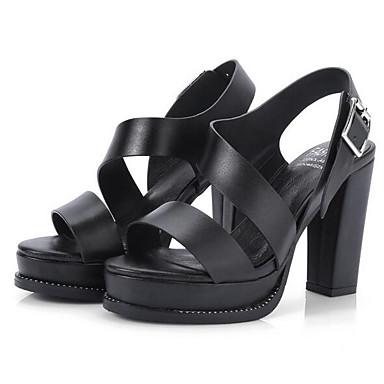 Confort Cuir Noir Heel Sandales Blanc Femme Printemps Block 06832989 Chaussures Nappa xq5IFCIH