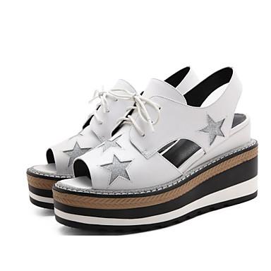 Žene Cipele Mekana koža Ljeto Udobne cipele Sandale Creepersice Obala / Crn