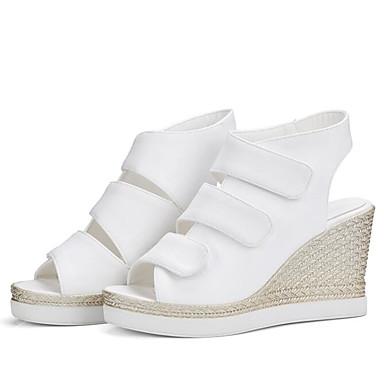 Mujer Sandalias Zapatos Cuña 06795224 Blanco Tacón Punta Verano PU abierta Confort Negro f7fxIqra