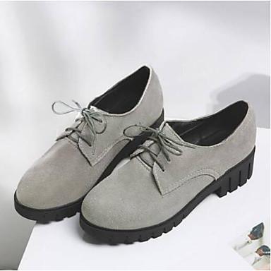 Confort fermé Bout Nappa Cuir Talon 06840119 Eté Noir Oxfords Femme Daim Chaussures Bottier Printemps Gris xqYPvgTB