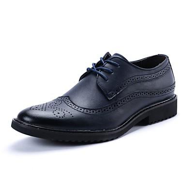 Men's PU(Polyurethane) Fall Brown Comfort Oxfords Beige / Brown Fall / Blue 80b169