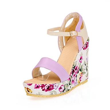 Confort Azul Verano Sandalias PU Tacón Cuña 06776311 Mujer Zapatos Morado qT8xtwTp