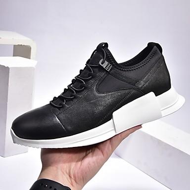 Muškarci Mekana koža Proljeće & Jesen Udobne cipele Sneakers Crn / Sive boje / Crno-bijeli