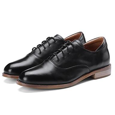 fermé Talon Confort Femme 06797666 Cuir Bout Printemps Eté Noir Oxfords Nappa Plat Marron Chaussures nwqv0qxAa