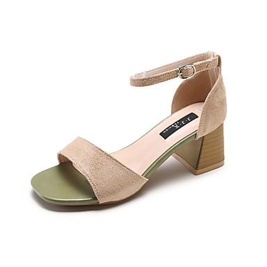 Žene PU Ljeto D'Orsay cipele Sandale Kockasta potpetica Trg Toe Crn / Žutomrk