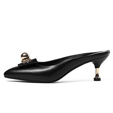 Bout 06774525 Talon Aiguille amp; Eté Femme A Cuir Billes pointu Sabot Chaussures Mules Arrière Noir Bride Nappa 7Pq1Ra